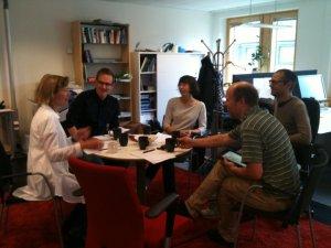 Redaktionsmöte 2011; från vänster BrittMari Lantto, Fredrik B Nilsson, Åsa Berner, Rikard Johansson och Johan Jeppsson.